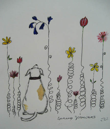 Spring Flowers Drawing With Little Dog Jcs Ceramic Sculpture Blog